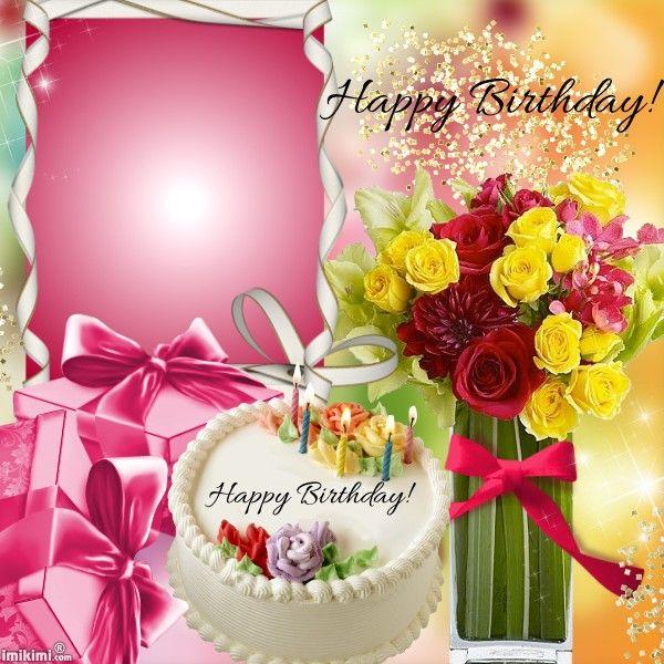 Happy Birthday! porta retratos y flores Pinterest Happy - birthday greetings template