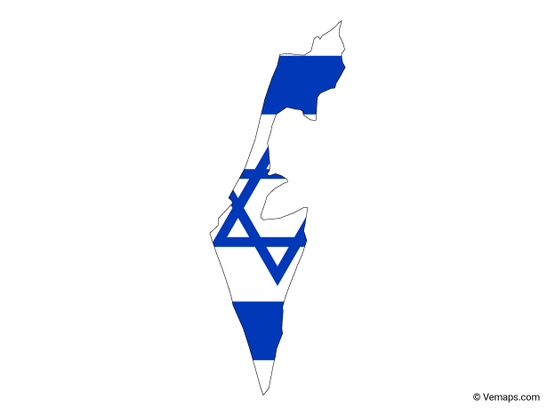 Flag Map Of Israel Free Vector Maps Map Vector Israel Flag Map
