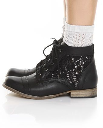 c869d1c55cf0b vegan crochet lace boots--I like how sock color could peek through the sides