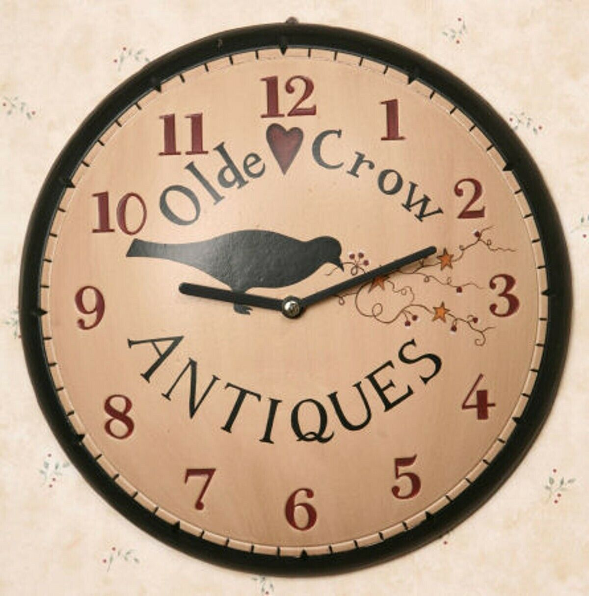 Primitive Olde Crow Antiques Wall Clock Wood Pip Berries And Stars Black Red 11 Wood Clock Ideas Of W Wood Wall Clock Rustic Wall Clocks Antique Wall Clock