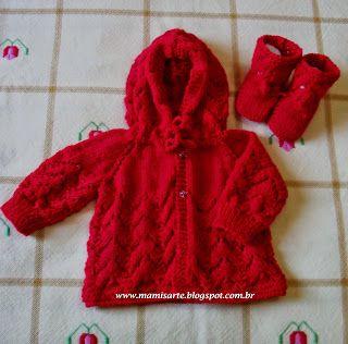 89d362bd6c47d Crochet et Tricot da Mamis  Casaquinhos com Capuz em Tricot para Bebê -  Receit.