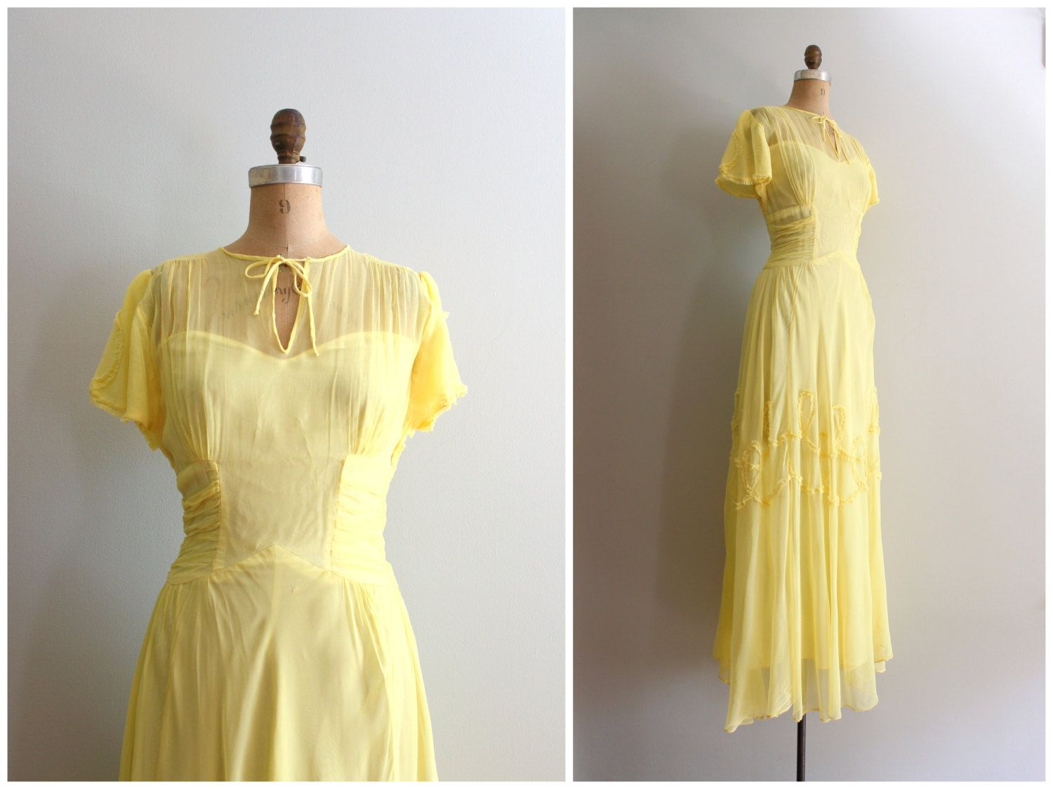 Pale Yellow 1940s Party Dress Vintage 40s Sheer Rayon Gown Etsy Chiffon Summer Dress Belle Dress Party Dress [ 1125 x 1500 Pixel ]