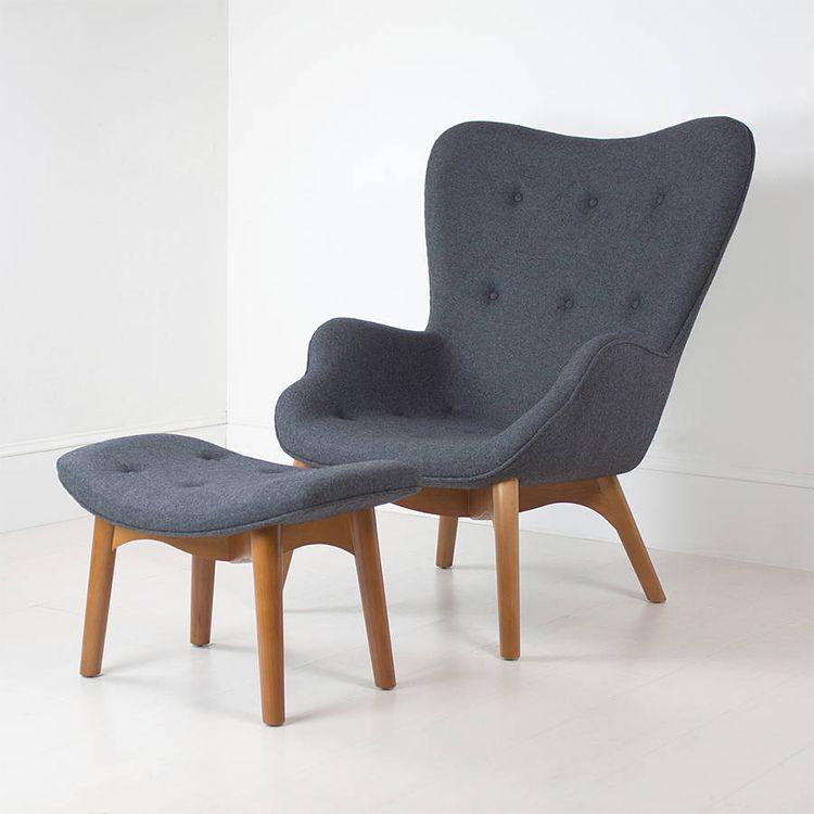 创意设计休闲椅实木布艺接待办公椅子简约时尚靠背 躺椅 淘宝网 Chair And Ottoman Furniture Unusual Furniture