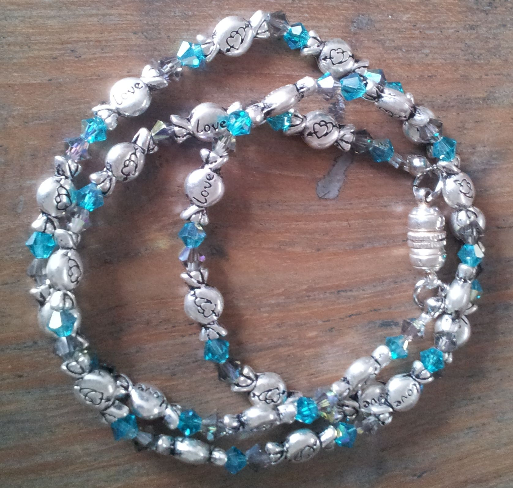 Wrap bracelet with Swarovski beads