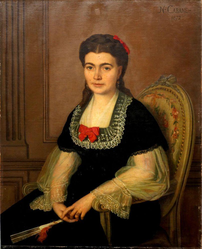 Florian N CABANE Portrait de femme Huile / toile Ecole