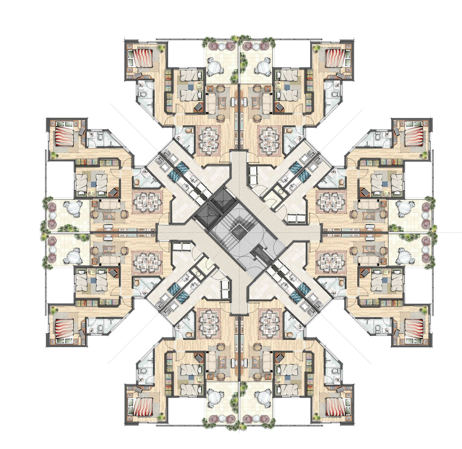 High Rise Apartment Building Floor Plans Residential