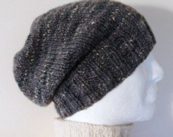 8c81cf63430 CHARLEY SLOUCH Hat PATTERN Mans Handknit Slouchy Beanie Pattern Easy Knit  on Straight Needles