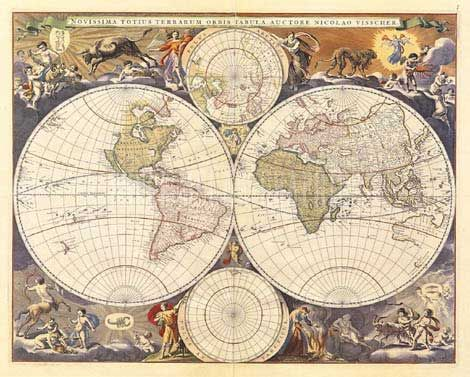 The new world map 17th century see notes the illusion amanti art new world map century framed art print by ria visscher these types of old world maps are my absolute favorites gumiabroncs Image collections