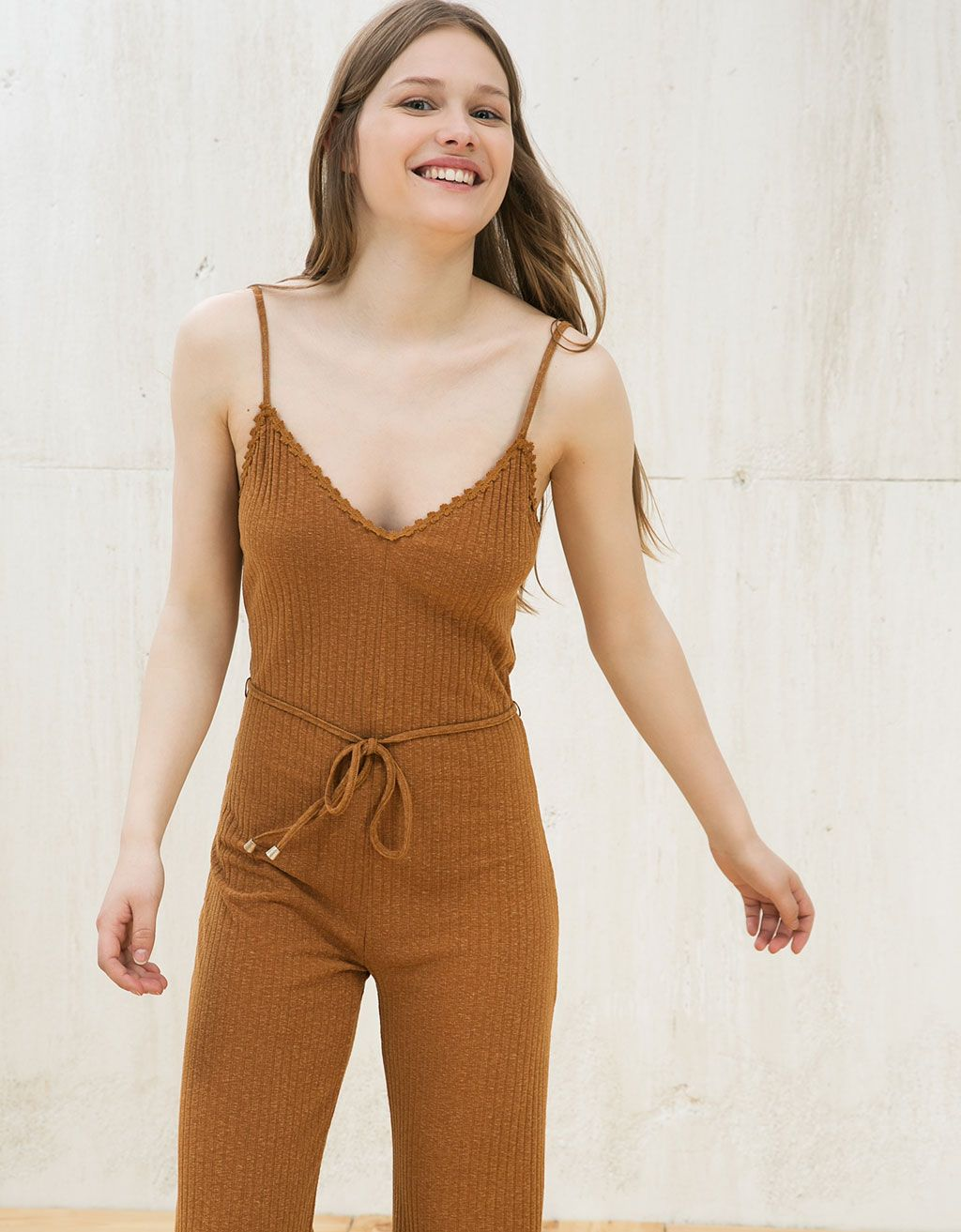 a0ee24a7ea Bershka Turkey - Long ribbed jumpsuit with belt