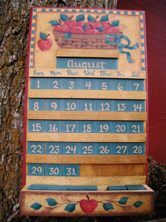 Apple Wooden Perpetual Calendar Kitchen Decor by SweetPeaPickers