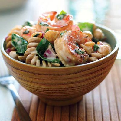 Shrimp, Lemon and Spinach Whole-grain Pasta Salad