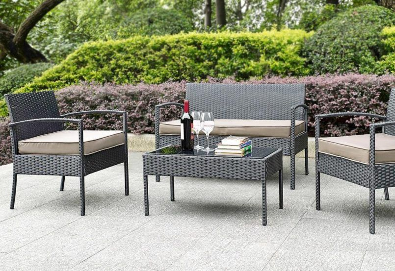 Outdoor Black Classic Stained Steel Conversation Set With Books Also Wine  And Glass Besides Patio Sets