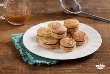 Chocolate Caramel Macarons    Imperial Sugar #whippedshortbreadcookies