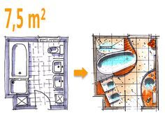 badplanung beispiel 7 5 qm badoase auf kleinem raum b der pinterest badezimmer bad und. Black Bedroom Furniture Sets. Home Design Ideas