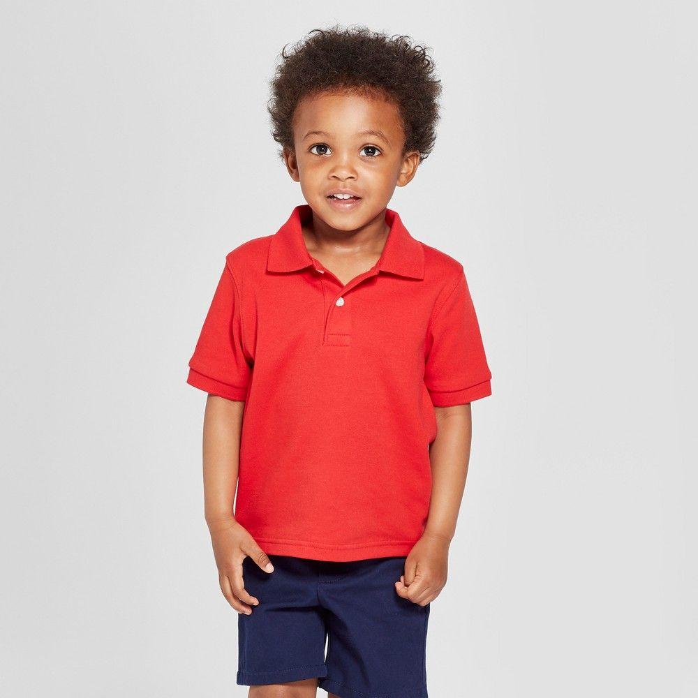 7b45d531a Toddler Boys' Short Sleeve Interlock Uniform Polo Shirt - Cat & Jack Red 4T