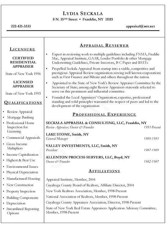 Real Estate Appraiser All Business Pinterest Sample Resume