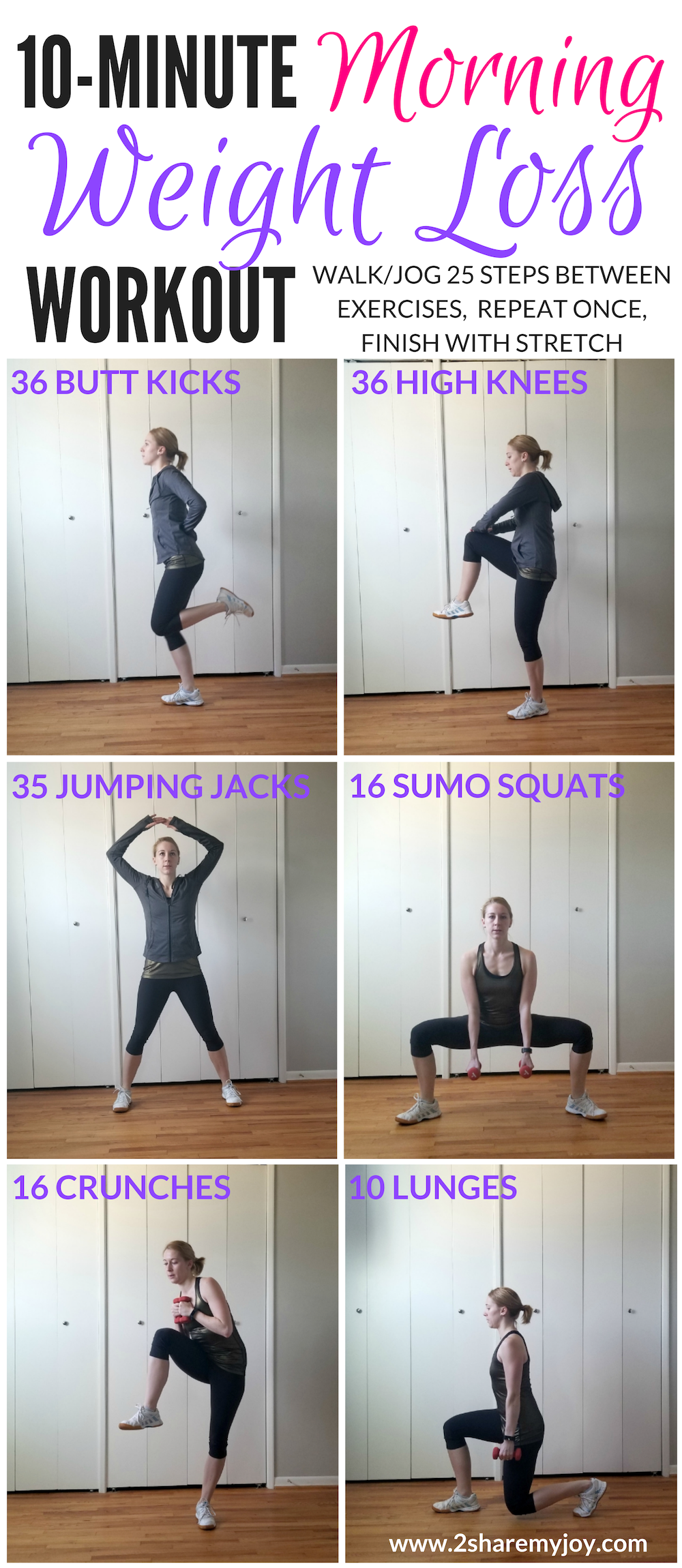 10 Minute Morning Weight Loss Workout for beginners, or intermediate that you can do at home in your...