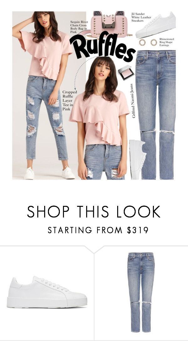 """Casual: Ruffle Layer Tee"" by beebeely-look ❤ liked on Polyvore featuring Jil Sander, GRLFRND, Burberry, casual, casualoutfit, schoolstyle, sammydress and distresseddenim"