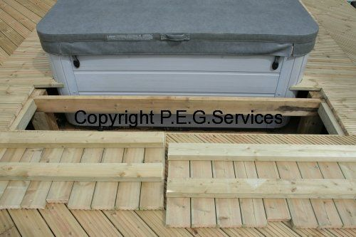 Hinged Or Removable Access Panels For Hot Tub Google Search Hot Tub Deck Building A Deck Hot Tub