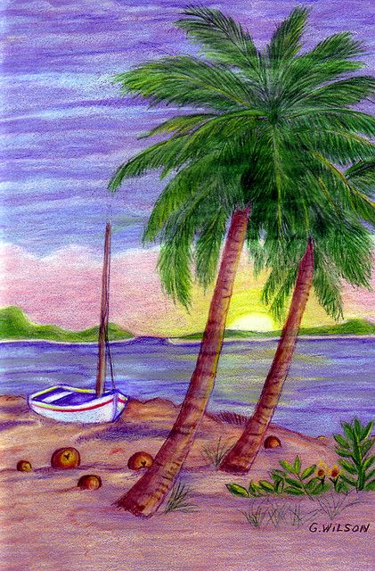 173ab9a5d Palm Tree and Boat in 2019 | Art | Beach scene painting, Painting ...