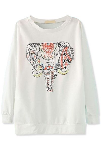 Chic Elephant Pattern Solid Sweatshirt
