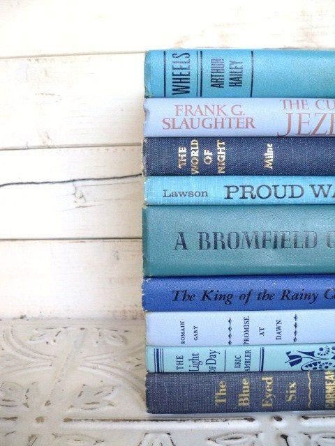 Blue Books Instant Library Collection Decorative Vintage Book Bundle ...