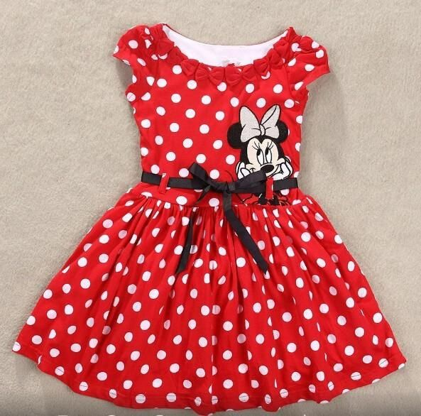 fdfe25086 Baby Girl Minnie Mouse Summer Red Polka Sleeveless Kids Cute Party ...