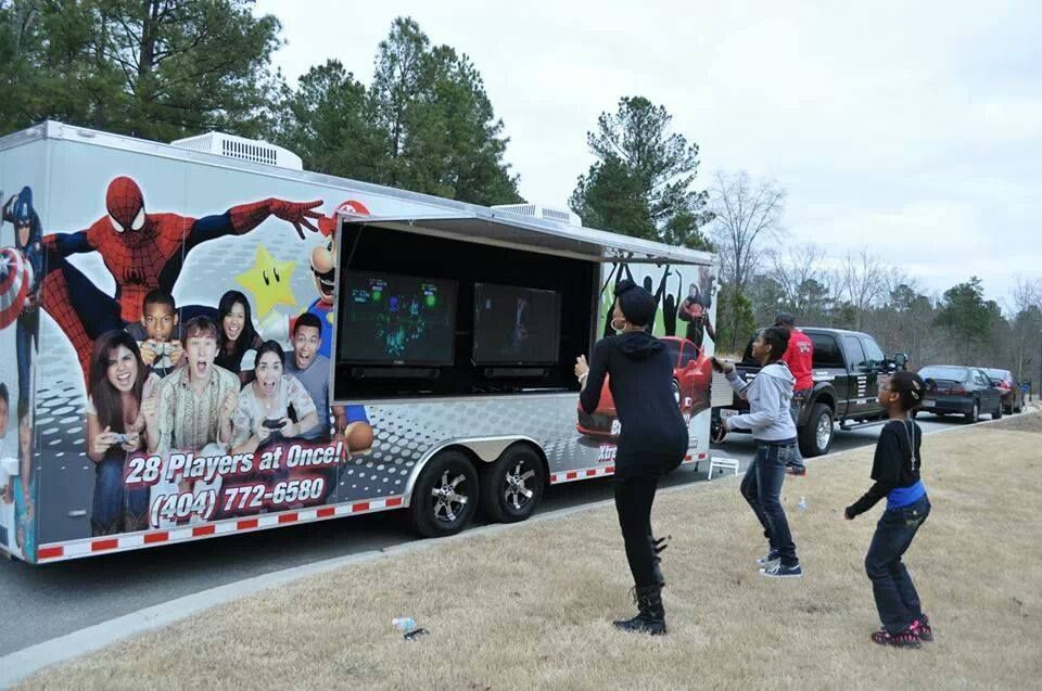 I Love The Look Of This Party Bus The Giant Tvs Would Be So Much Fun To Have At An Outdoor Party I Bet My Son Laser Tag Party Boy