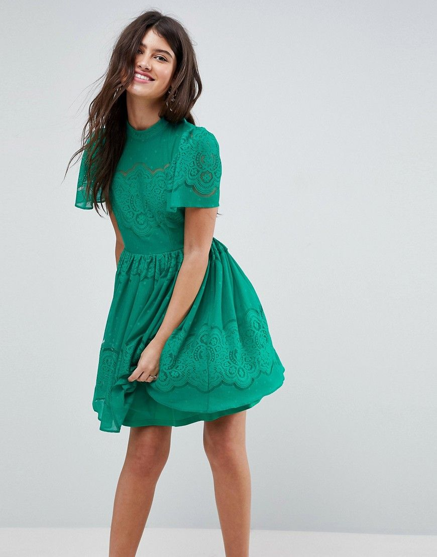 45212ff31a03c ASOS Lace Puff Sleeve Mini Dress - Green