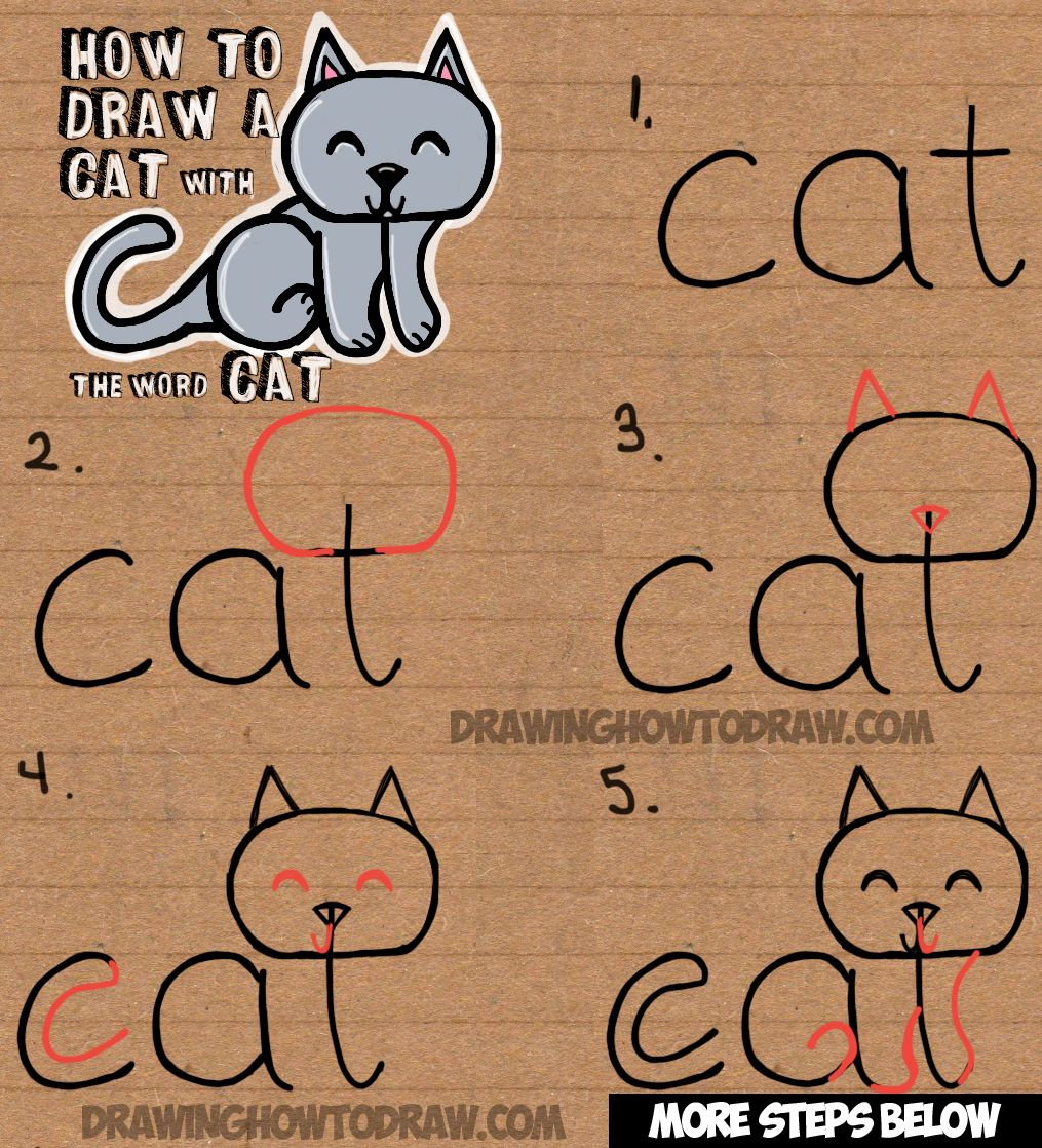 How To Draw A Cat From The Word Cat Simple Step By Step Drawing Lesson For