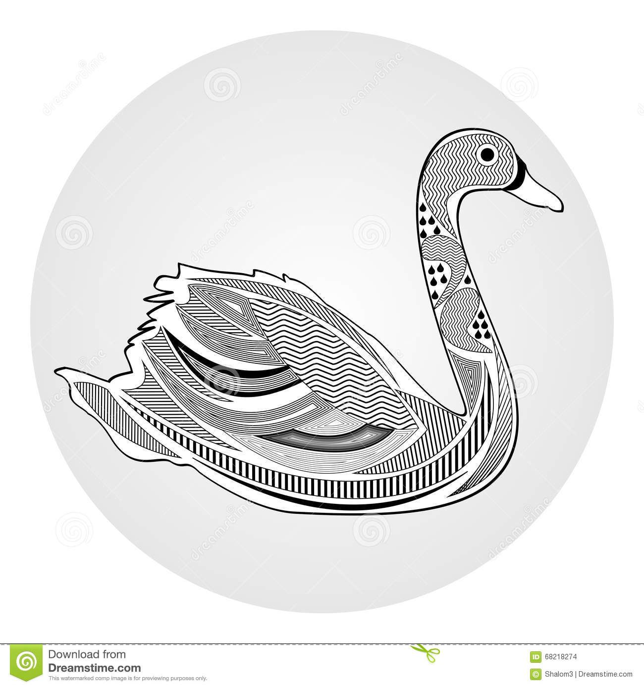 Swan, black and white drawing with hatched and patterned body parts ...