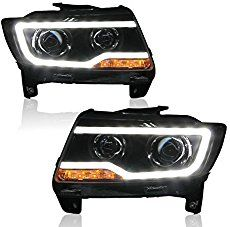Black Led Drl Halo Projector Jeep Grand Cherokee Headlights With