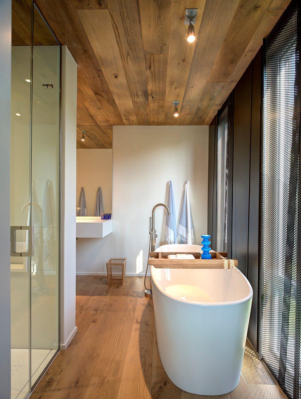 Bathroom Bath Shower Wood Floor Ceiling Home Addition Southampton