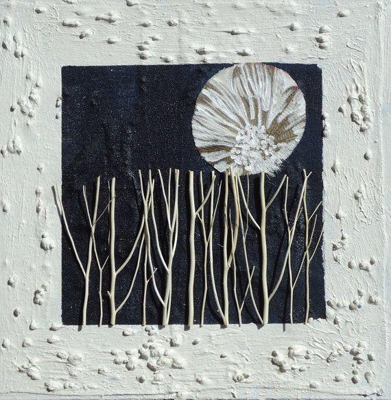 Pittura astratta contemporanea- QuadriMatericidiRita- Titolo: Boschetto e luna- cm 40x40x4