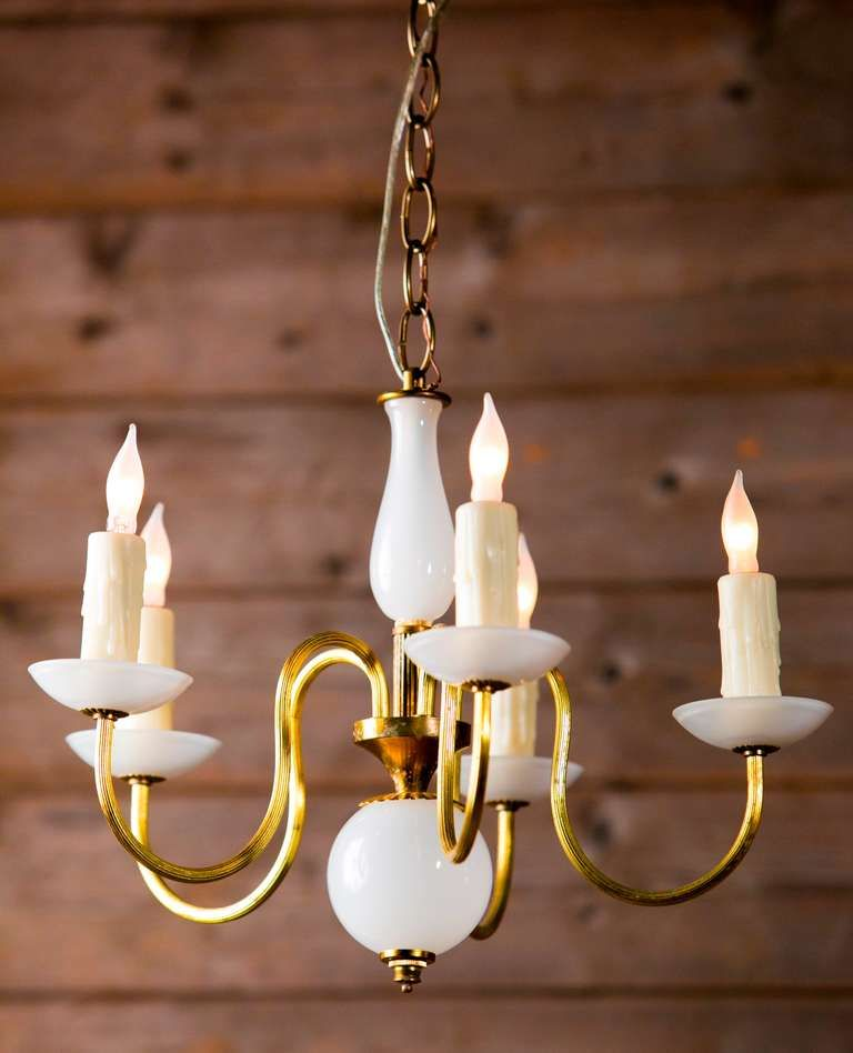 Vintage Milk Glass Murano Chandelier From A Unique Collection Of Antique And Modern Chandeliers Pendants At