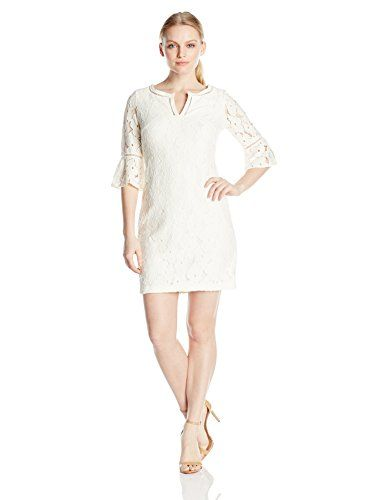 Jessica Howard Womens Flutter Sleeve Lace Dress Ivory
