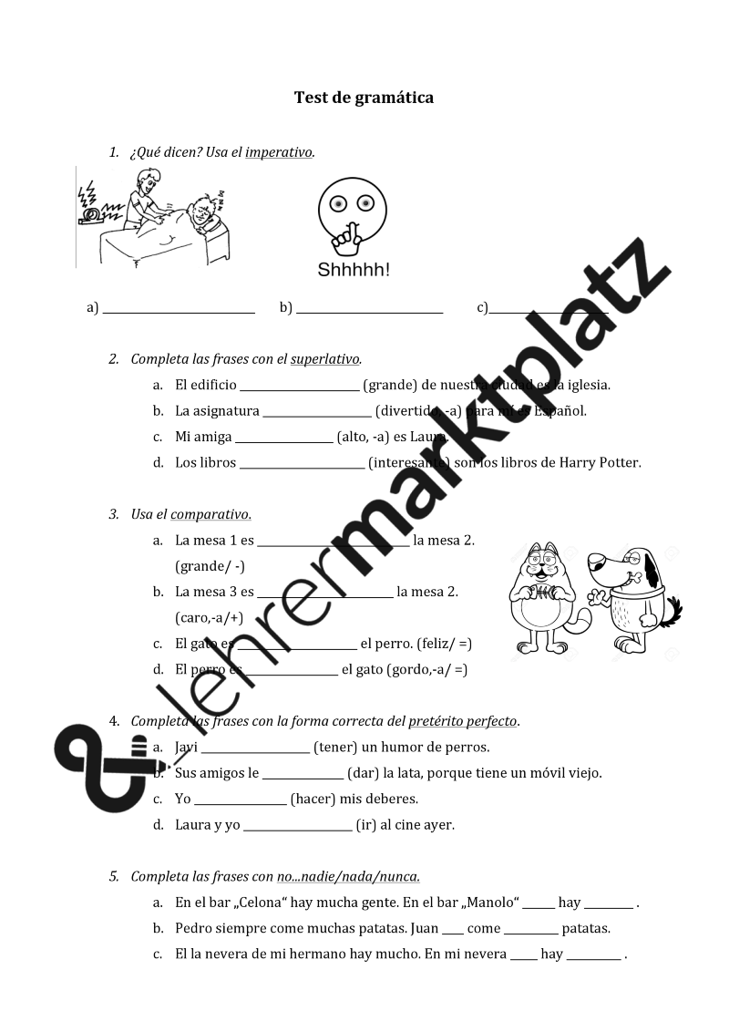 Test de gramática/ Grammatiktest/ Imperativ, Komparativ, Superlativ ...