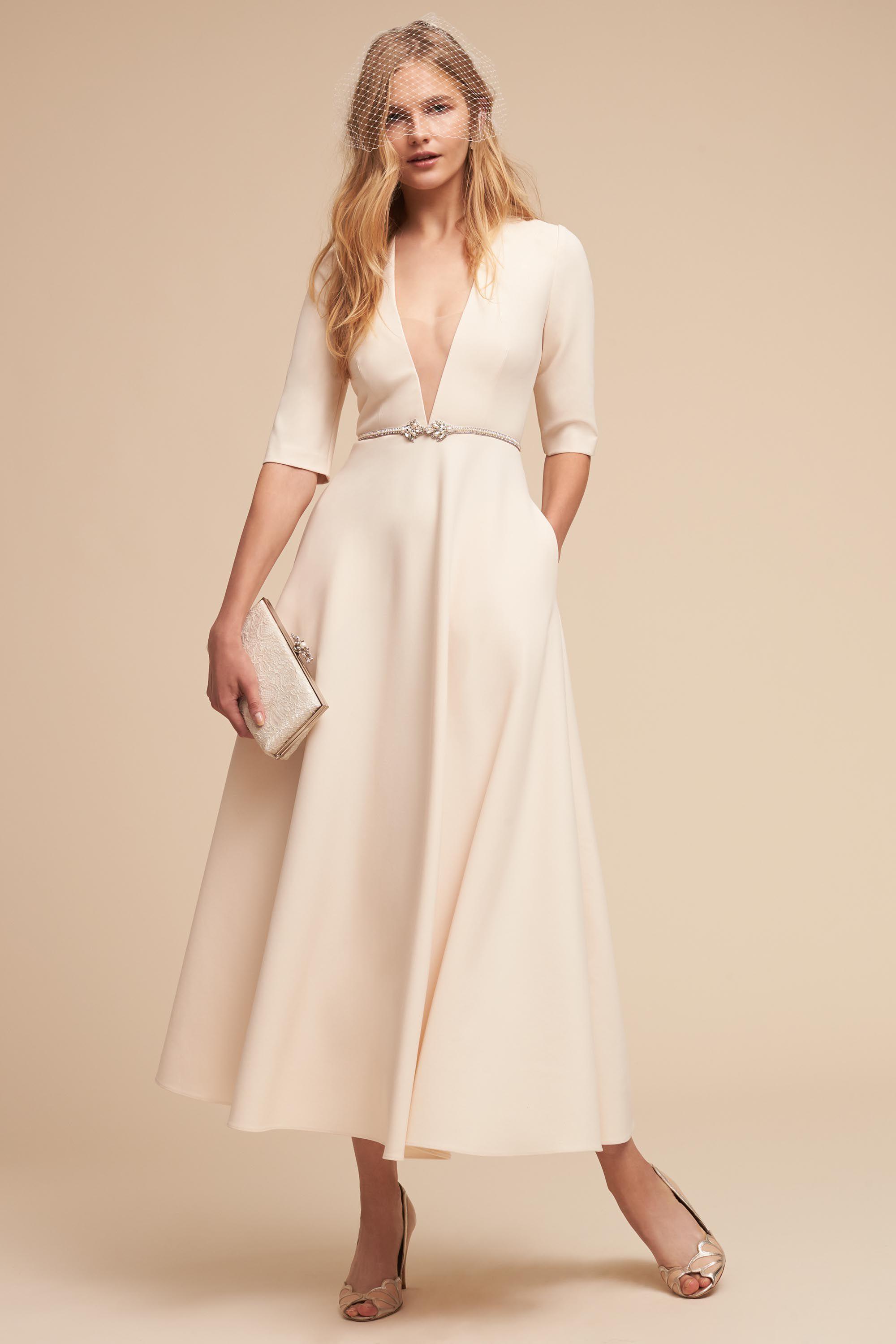 Tea length sleeve wedding dress  Kennedy Gown from BHLDN  Lucille u Ericus Love Board  Pinterest