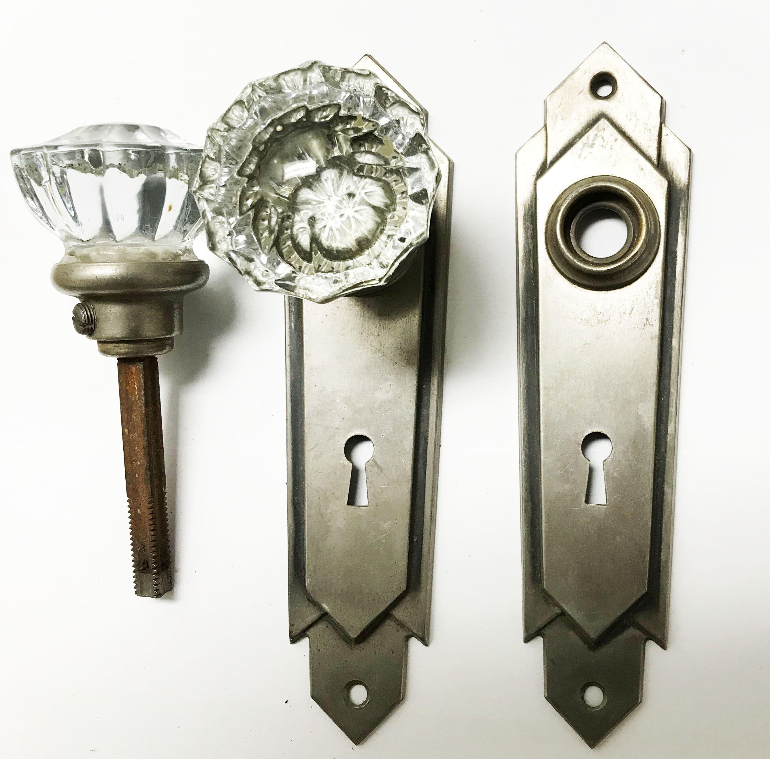 Antique 1920 S Art Deco Glass Doorknob Set 533025 Art Deco Glass 1920s Art Deco Antique Hardware