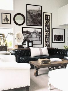 Room Inspiration: Beautiful Black And White Spaces. Black SofaBlack Leather  ...