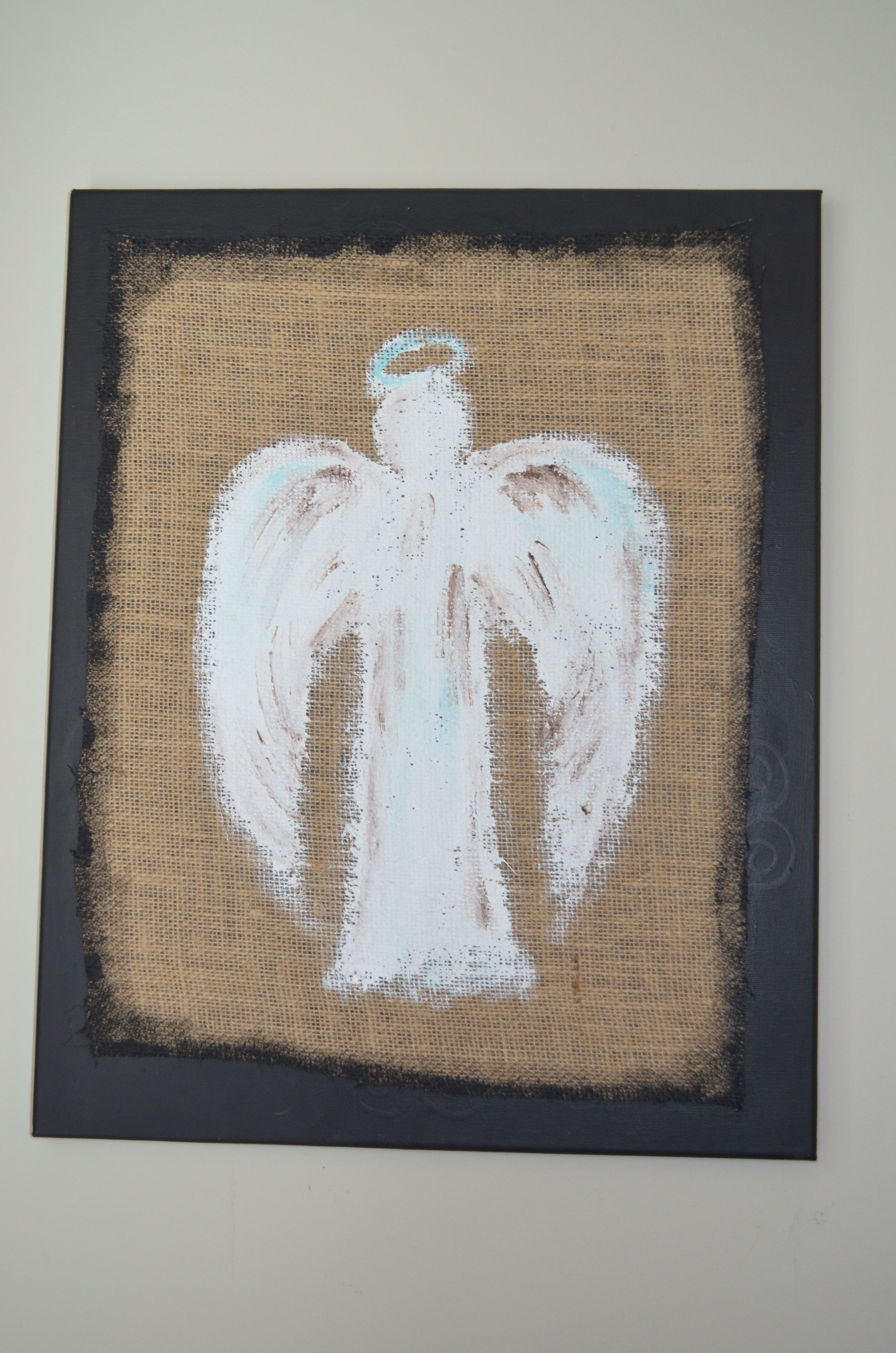Angel On Burlap By Kelly Acker My Arts Crafts Pinterest