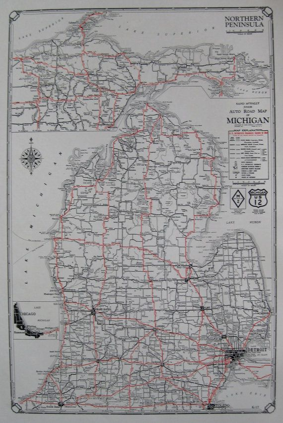 Rare MICHIGAN Map of Michigan 1930 Vintage Michigan Road Map Black