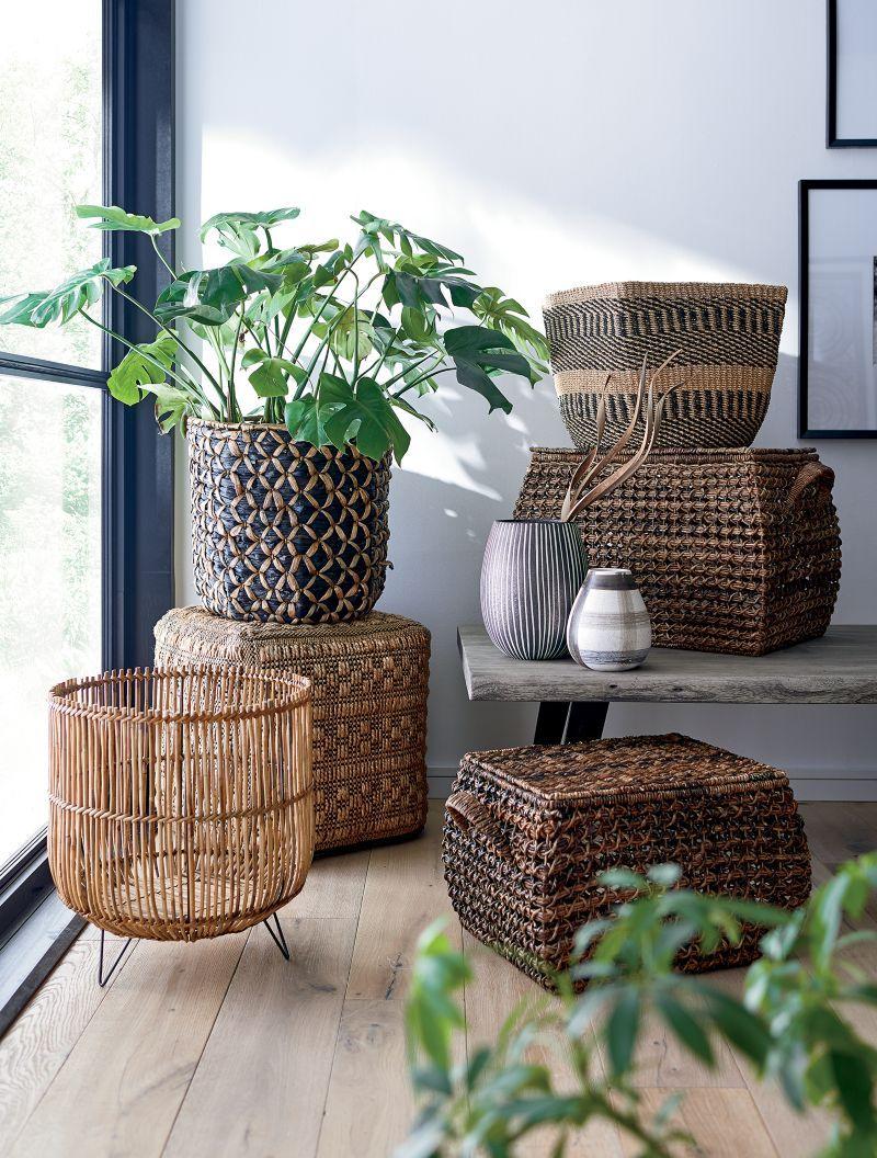 Briget Large Natural/Black Abaca Basket + Reviews | Crate and Barrel