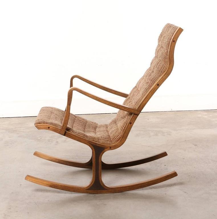 Heron Rocking Chair And Footstool By Mitsumasa Sugasawa For Tendo Mokko,  Japan 2