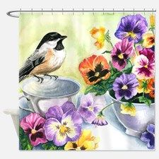 Chickadee And Pansies Shower Curtain For