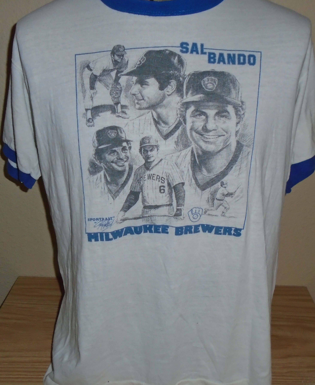 info for d62e2 2efd2 vintage 1980s Milwaukee Brewers Sal Bando ringer t shirt XL ...