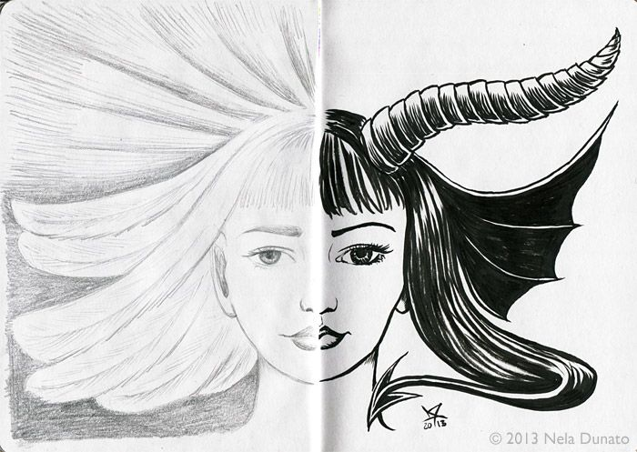 sketchbook pages dualist angel and demon graphite and