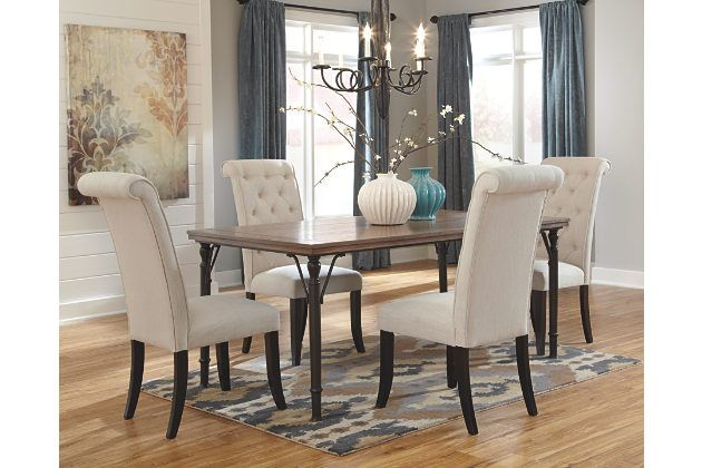 Linen Tripton 5 Piece Dining Room View 1 Dining Room Chairs Upholstered Ashley Furniture Dining Room Dining Room Chairs