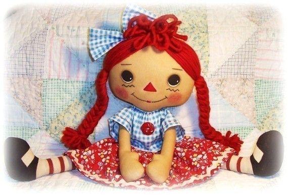 Large Cloth Doll pattern, PDF sewing pattern, Rag Doll, Raggedy Ann ...