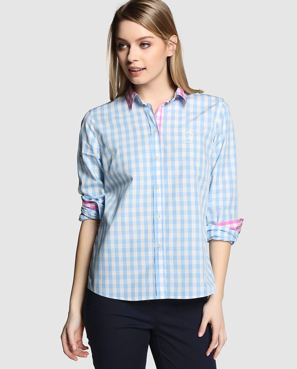 Camisa de mujer Lloyd's con cuadros vichy en azul